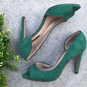 Zara Basic Green Faux Suede Peep toe Cut outs